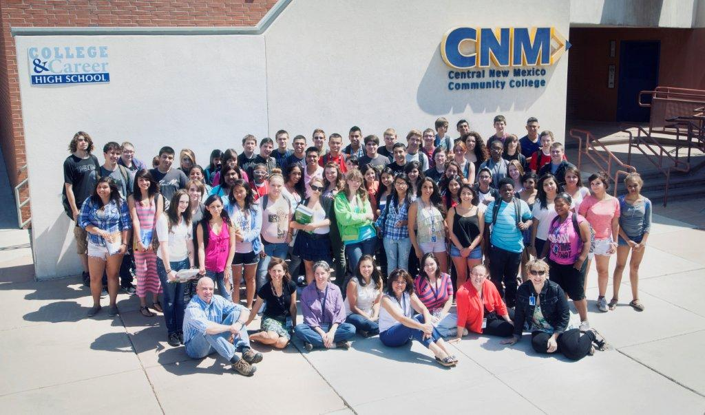 Photo of students and faculty on the school campus